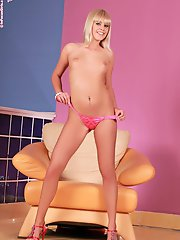 Noleta - HighHeeled Hottie - Hot babe strips and fingers herself