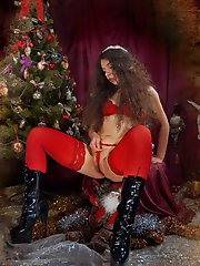 Xmas girl plays dirty with her panties and a bottle